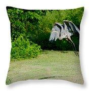 Great Blue Heron In Flight 6 Throw Pillow