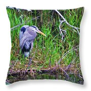 Great Blue Heron In Nature Throw Pillow