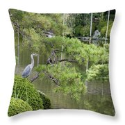 Great Blue Heron In Pond Kyoto Japan Throw Pillow