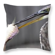 Great Blue Heron - Just Fred Throw Pillow