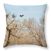 Great Blue Heron Nest Building 1 Throw Pillow