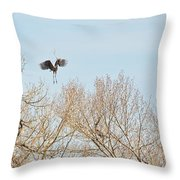 Great Blue Heron Nest Building 2 Panorama View Throw Pillow