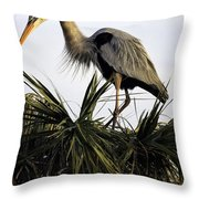 Great Blue Heron On Palm Throw Pillow