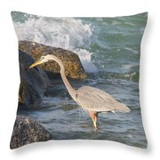 Great Blue Heron On The Prey Throw Pillow