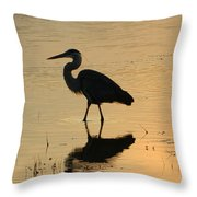 Great Blue Heron Reflected Throw Pillow