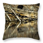 Great Blue Heron Reflection Throw Pillow