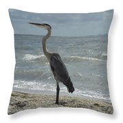 Great Blue Heron Standing Tall Throw Pillow