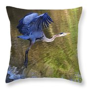 Great Blue Heron Taking Off Throw Pillow