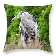 Great Blue Heron Watching And Waiting Throw Pillow