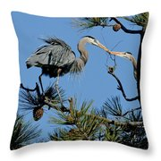 Great Blue Heron With Nest Material Throw Pillow