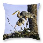 Great Blue Herons Nesting Throw Pillow