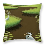 Great Blue Herons On A Lily Pad Pond Throw Pillow
