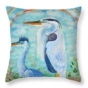 Great Blue Herons Seek Freedom Throw Pillow