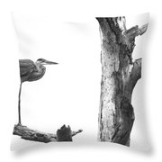 Great Blue In Black And White Throw Pillow