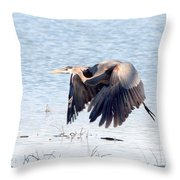 Great Blue Lift Off Series 2 Throw Pillow