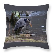 Great Blue On The Clinch River II Throw Pillow