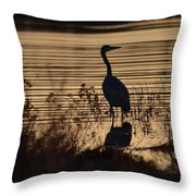 Great Blue Silhouette Throw Pillow
