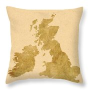 Great Britain Map Throw Pillow