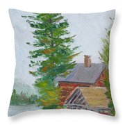 Great Camp Sagamore Boat House Throw Pillow
