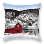 Great Canadian Red Barn In Winter Throw Pillow