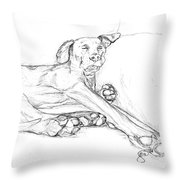 Great Dane Dog Sketch Bella Throw Pillow