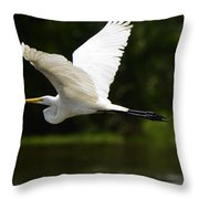 Great Egret Amazon River Throw Pillow
