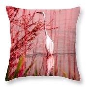 Great Egret Ardea Alba Egretta Throw Pillow