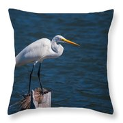 Great Egret At His Post Throw Pillow