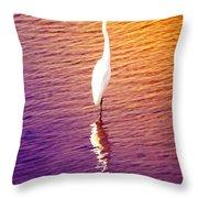 Great Egret At Sundown  Throw Pillow