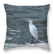 Great Egret Bird Throw Pillow