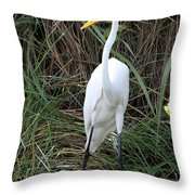 Great Egret In The Green Throw Pillow
