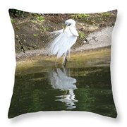 Great Egret In The Lake Throw Pillow