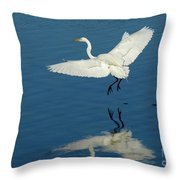 Great Egret Landing Throw Pillow
