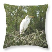 Great Egret Lookout Throw Pillow