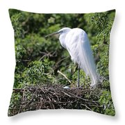 Great Egret Nest Throw Pillow