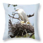 Great Egret Nest With Chicks And Mama Throw Pillow