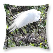Great Egret On Nest Throw Pillow