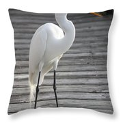 Great Egret On The Pier Throw Pillow