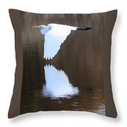 Great Egret Over The Pond Throw Pillow