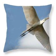 Great Egret Overhead Throw Pillow