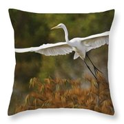Great Egret Pixelated Throw Pillow