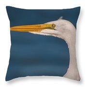Great Egret Portrait Throw Pillow