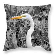 Great Egret Poster Throw Pillow