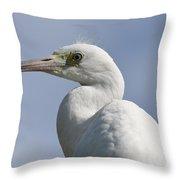 Great Egret Profile Throw Pillow