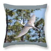 Great Egret Spirit Throw Pillow