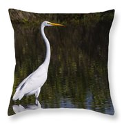 Great Egret Standing Out Throw Pillow