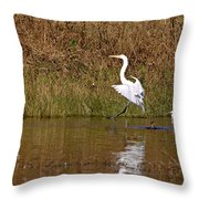 Great Egret Wing Water Reflections 3 Throw Pillow