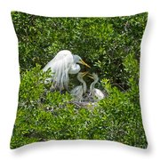 Great Egret With Chicks On The Nest Throw Pillow