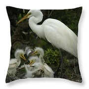 Great Egret With Young Throw Pillow