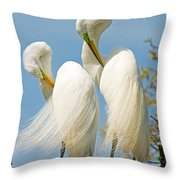 Great Egrets At Nest Throw Pillow